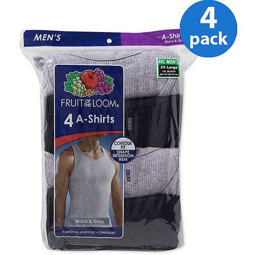 Fruit of the Loom Big Men's Black/Gray A-Shirts, 4 Pack, 3XL