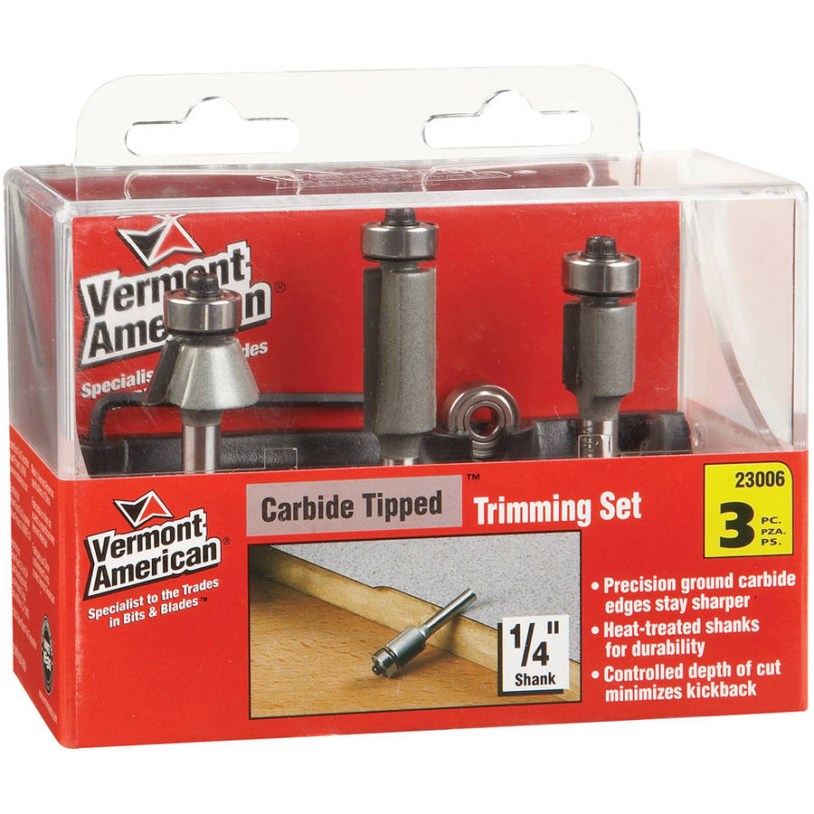 Vermont American 23006 3-Piece Trimming Router Bit Set