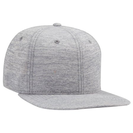 OTTO Snap 6 Panel Pro Style Jersey Knit w/Cotton Twill Square Flat Visor - Heath. Gray