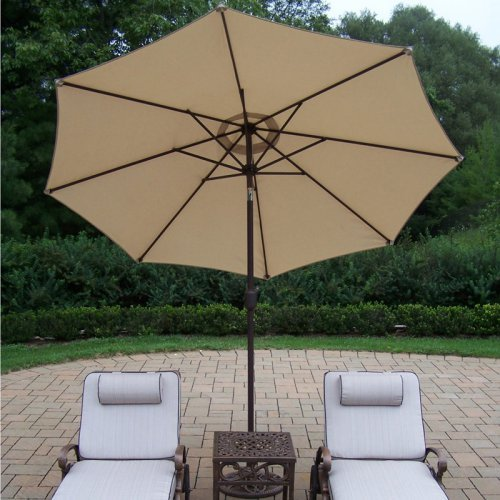 Oakland Living Elite Cast Aluminum Chaise Lounge Chat Set with Tilting Umbrella and Stand