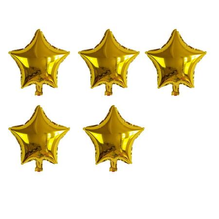 Gold Star Balloons (Unique Bargains Foil Star Shape Balloon Birthday Wedding Decor Gold Tone 5 Inches 5)