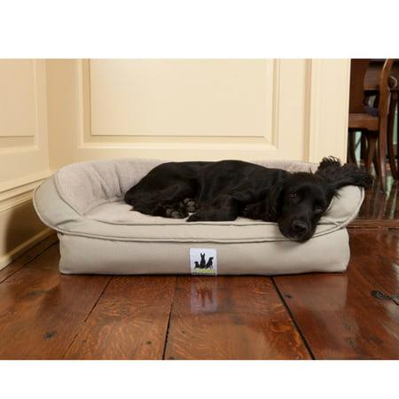 3 Dog Pet Supply EZ Wash Headrest Memory Foam Dog Bed, Tan, 33L x 22W x 9H in.