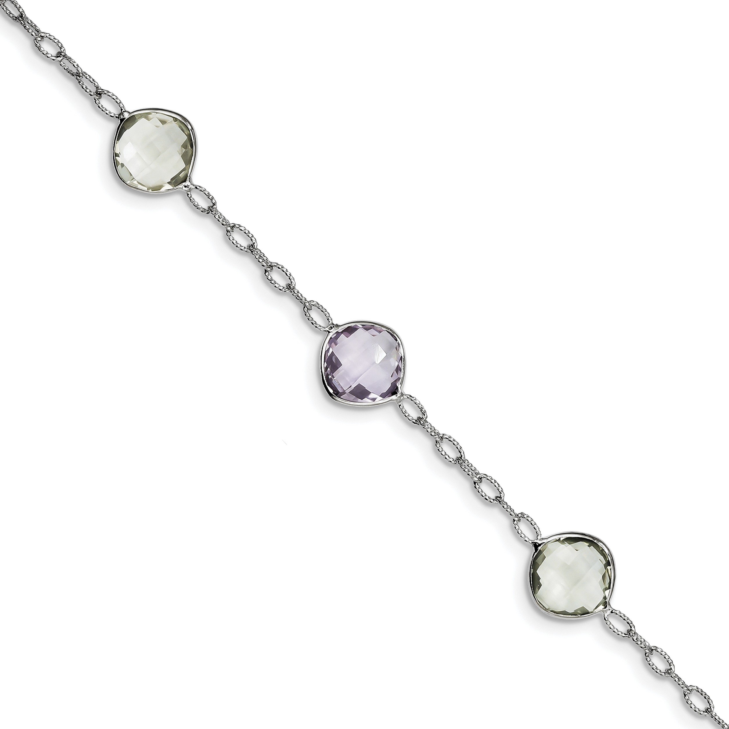 925 Sterling Silver Rhodium-plated Amethyst & Green Quartz Bracelet by