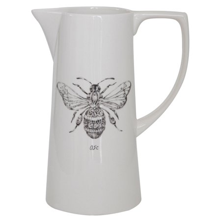 3R Studios White Ceramic Pitcher with Bee Image ()