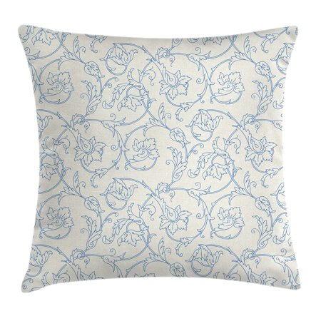 Floral Throw Pillow Cushion Cover, Flower Orchids Bohemian Style Vintage Petals Vines Pattern French Country Style, Decorative Square Accent Pillow Case, 18 X 18 Inches, Blue White, by Ambesonne