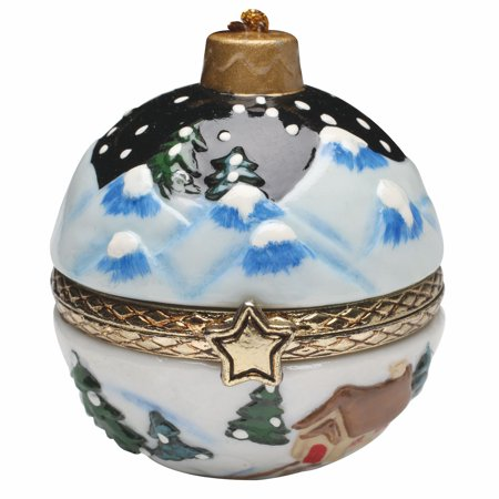 Bandwagon Christmas Decoration - Porcelain Surprise Ornaments Box - Winter Night Porcelain Christmas Box