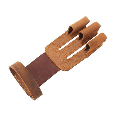 Brown Shooting 3 Finger Protector Glove Guard For Archery Hunting Pull Bow (Best Bow Hunting Gloves)