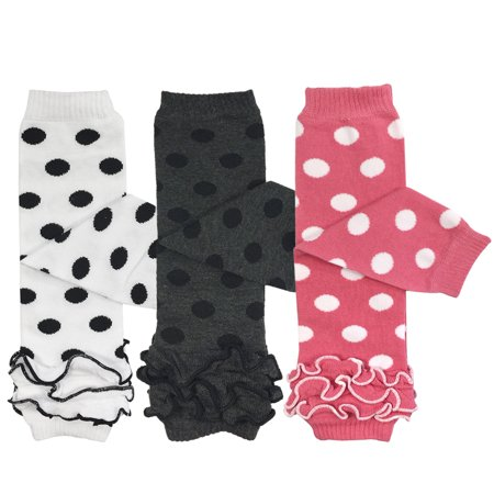 Wrapables® Baby 3-Pair Leg Warmers O/S Dots and Ruffles](Leg Warmers Band)