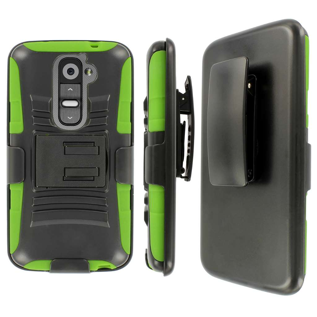 MPERO IMPACT XT Series Kickstand Case and Belt Holster for LG G2 - Black / Neon Green (Not Compatible with Verizon / International  Model)