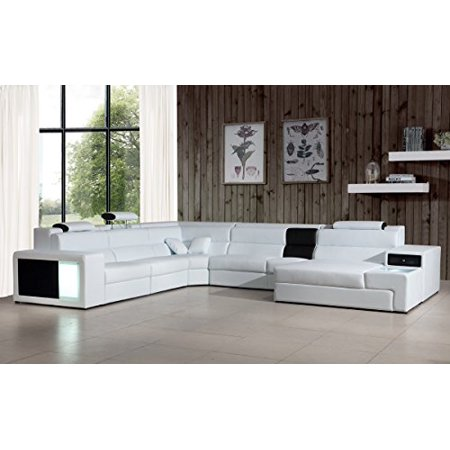 Divani Casa Polaris - Contemporary Bonded Leather White Sectional  Sofa-Color:White,Finish:White