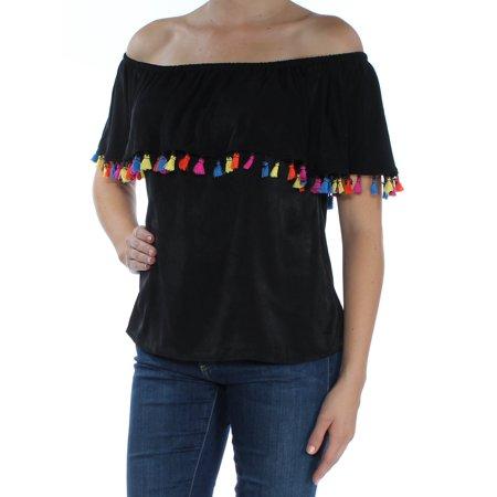- INC Womens Black Fringed  Felt Sleeveless Off Shoulder Tunic Top  Size: M
