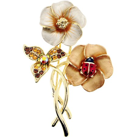 792db3d57 Fantasyard - Brown Hawaiian Flower With Red Ladybug Swarovski Crystal Pin  Brooch - Walmart.com