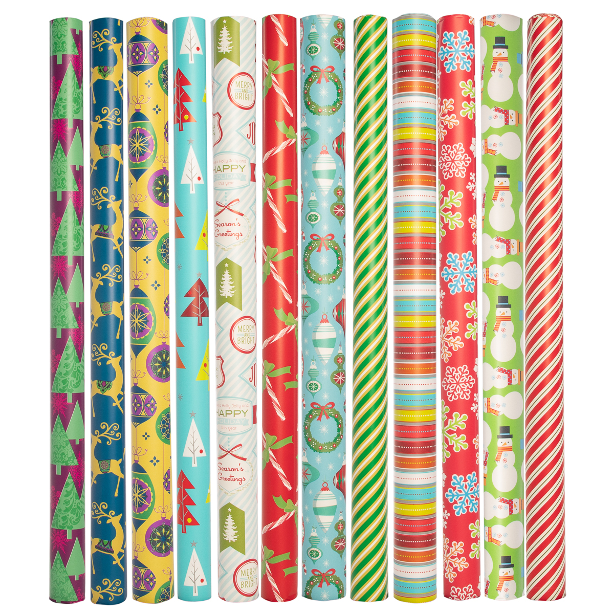 Paper Craft (12 Count) Jumbo Christmas Wrapping Paper Rolls Set for Xmas & Holiday Gifts Presents Bulk Assortment