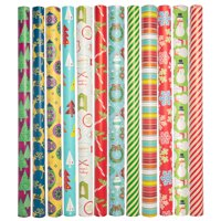 Paper Craft 12 Count Jumbo Christmas Wrapping Paper Rolls Set for Xmas & Holiday Gifts Presents Bulk Assortment