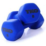 TKO 8 lbs. Neoprene Coated Dumbbell w Tri-Grip Handle in Blue
