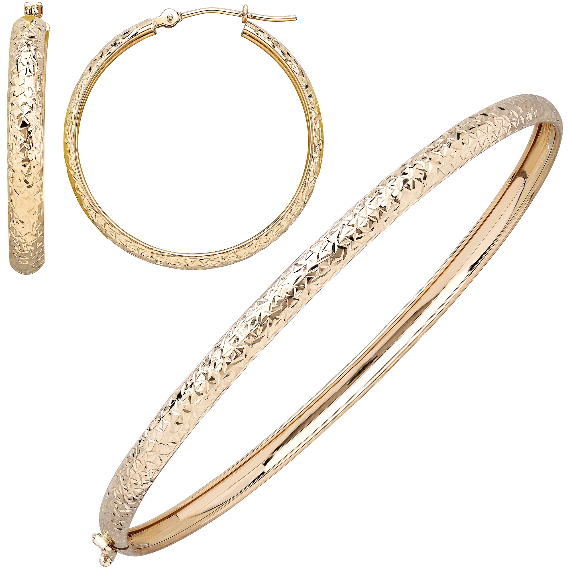 Simply Gold 10kt Yellow Gold Crystal Diamond Cut 4mm Bangle and 4mm x 30mm Hoop Earrings Set