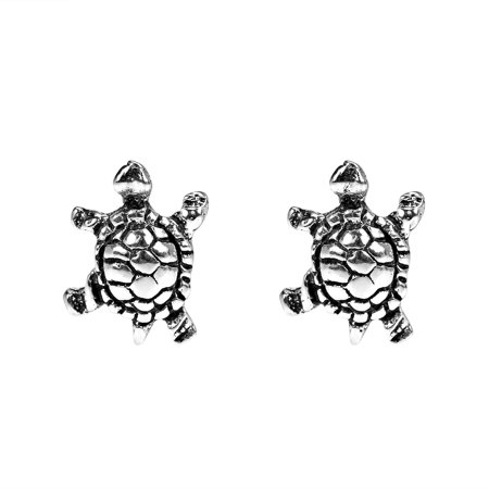 Sea Cablecap Stud - Petite Swimming Sea Turtle Stud Sterling Silver Earrings