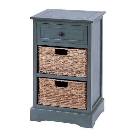 Decmode 16 X 28 Aqua Wood Side Table With Storage Natural Wicker Basket