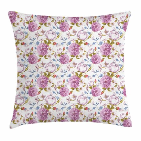Floral Throw Pillow Cushion Cover, Vintage Pastel Spring Scene with Hydrangea Blooms Garden Therapy Showy Birds Image, Decorative Square Accent Pillow Case, 18 X 18 Inches, Multicolor, by Ambesonne