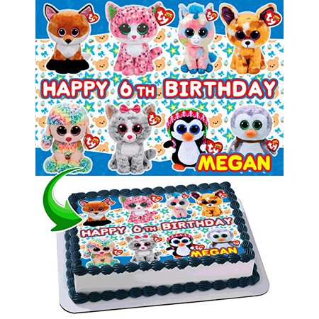 Beanie Boos Edible Cake Topper Personalized Birthday 1/4 Sheet Decoration Custom Sheet Birthday Frosting Transfer Fondant Image (Custom Decorations)