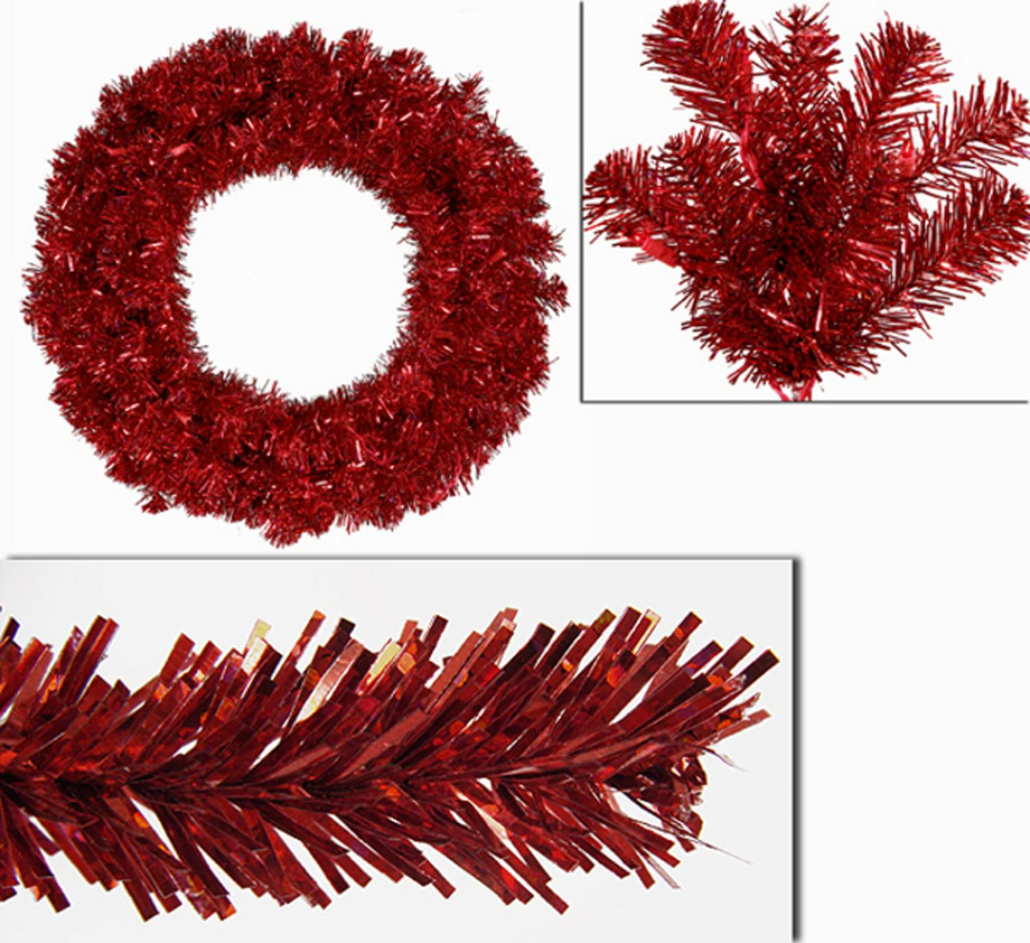 """24"""" Pre-Lit Sparkling Red Hot Tinsel Artificial Christmas Wreath - Red Lights"""