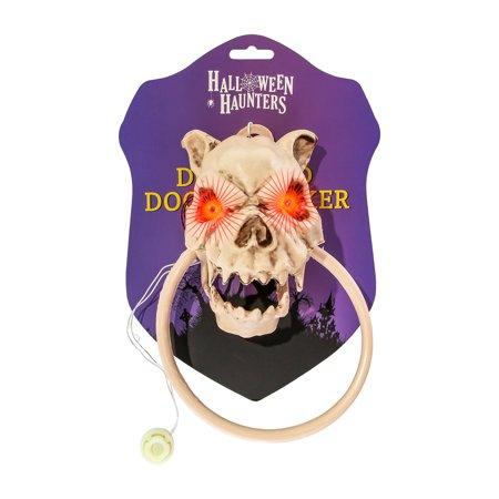 Halloween Haunters Animated Dog Skull Head Barking Door Knocker Prop - Halloween Door Decorations For Dorms