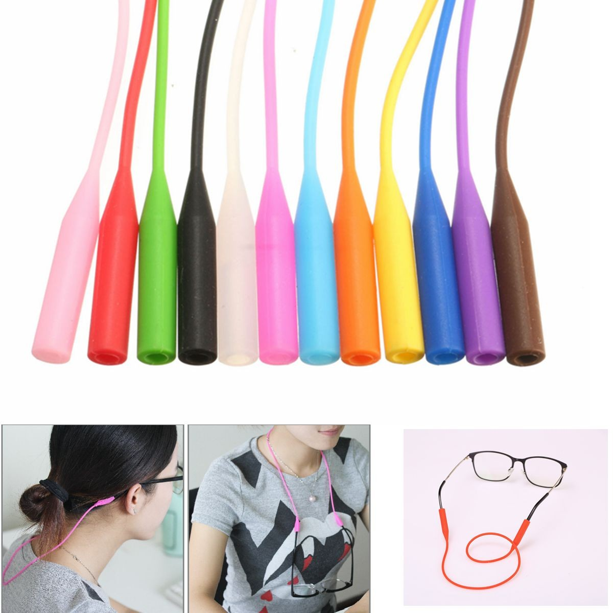 Glasses Sport Strap Band Cord Lanyard String Spectacle Holder Spectacles Sunglasses Eyewear Pure Silicone Colorful