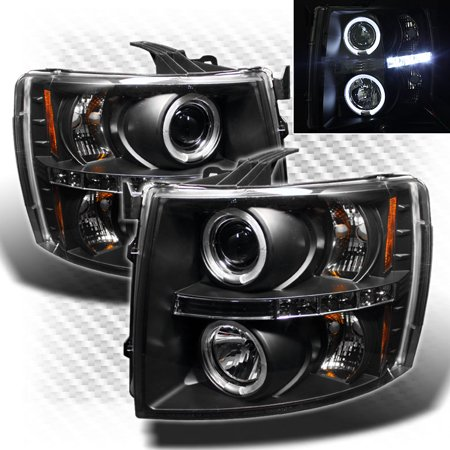 Black Projector - 2007-2014 Chevy Silverado Twin Halo LED Projector Headlights Black Head Lights Pair L+R 2008 2009 2010 2011 2012 2013