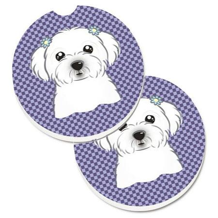 Purple Checkered Maltese Set of 2 Cup Holder Car Coaster - image 1 de 1