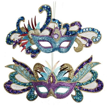 Kurt Adler Carnival Mardi Gras Masks Glitter  Holiday Ornaments Set of 2