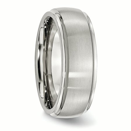 Stainless Steel Ridged Edge 8mm Brushed Wedding Ring Band Size 12.50 Classic Domed W/edge Fashion Jewelry For Women Gifts For Her - image 5 de 9