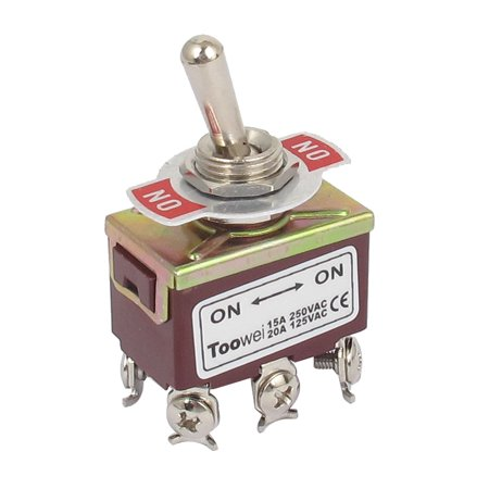 250V/15A 125V/20A 6 Screw Terminals On-Off 2 Position DPDT Toggle Switch