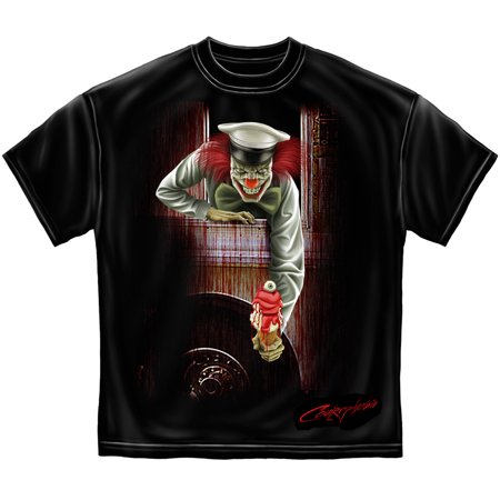 Clown Ice Cream Man Halloween Short Sleeve Cotton T-Shirt Tees Erazor Bits Black for $<!---->