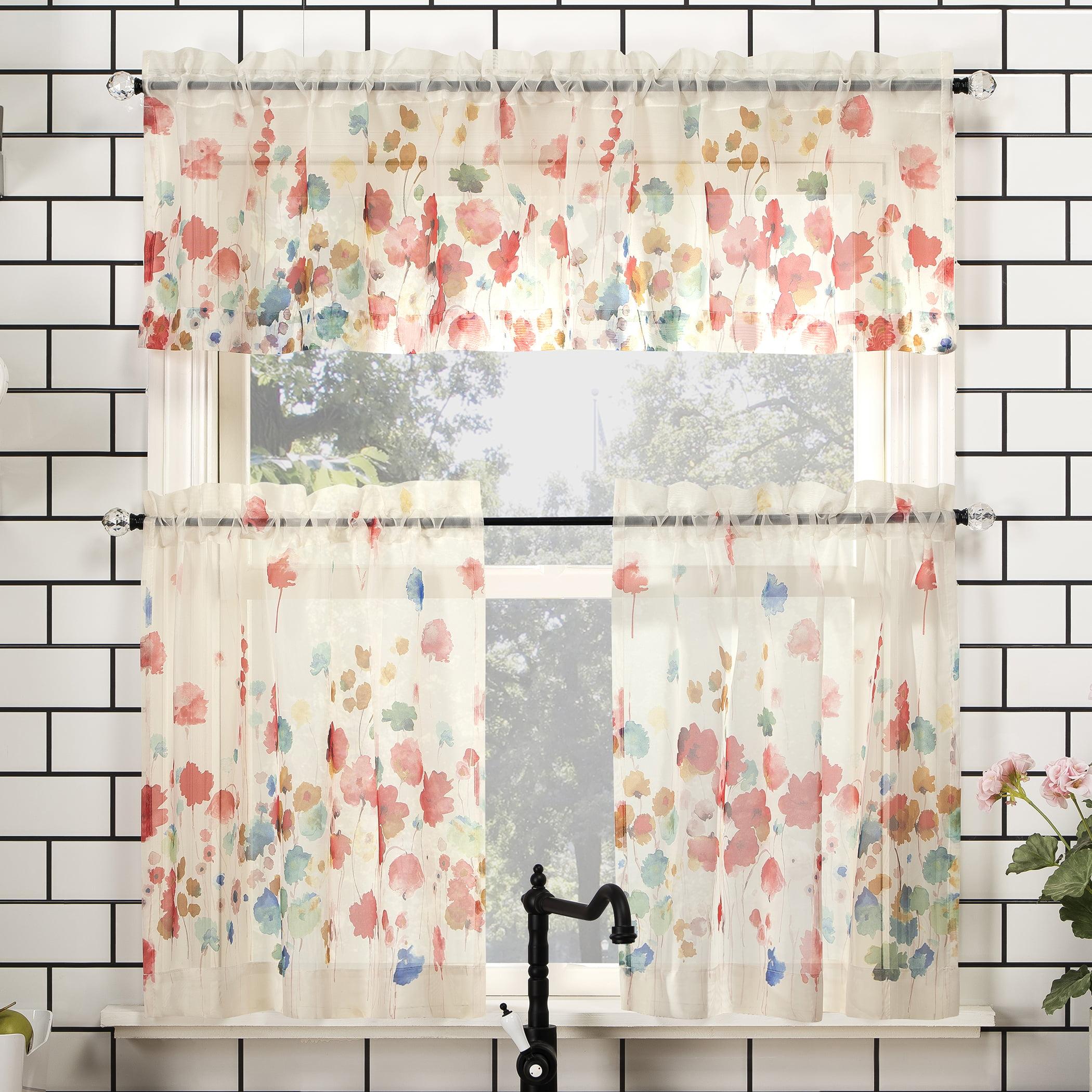 No 918 Rosalind Floral Watercolor Semi Sheer Rod Pocket Kitchen Curtains Walmart Com Walmart Com