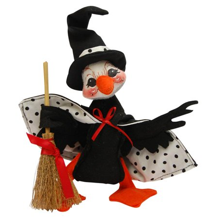 Annalee Dolls 6in 2015 Halloween Polka Dot Witch Duck Plush New with Tags