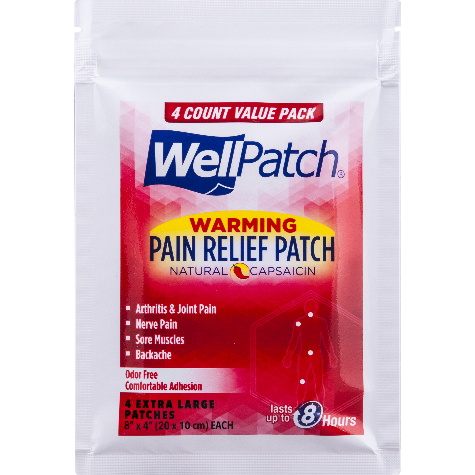 Mentholatum WellPatch Capsaicin Pain Relief Patches, 4 ct