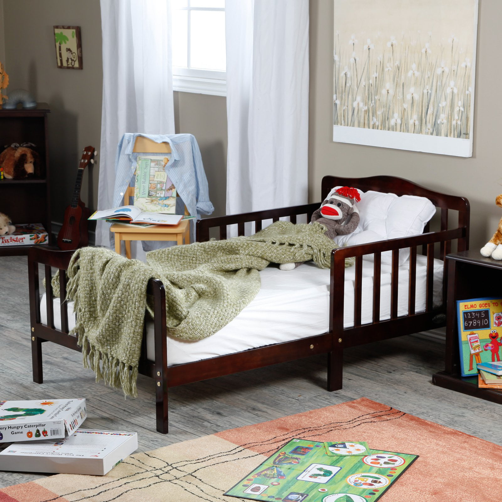 The Orbelle Contemporary Solid Wood Toddler Bed - Cherry ...