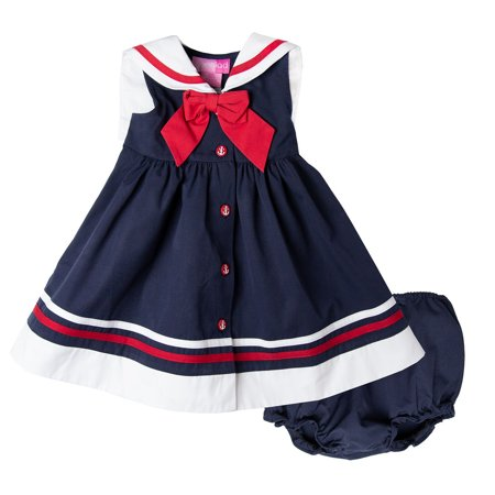 Nautical Girl (Good Lad Newborn/Infant Girls Navy Poplin Classic Navy Nautical Dress)