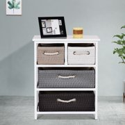Gymax Storage Drawer Unit 4 Woven Basket Cabinet Chest Bedside Table Nightstand