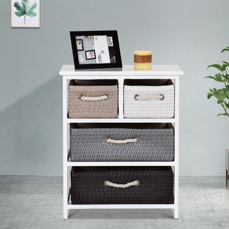 Gymax Storage Drawer Unit 4 Woven Basket Cabinet Chest Bedside Table Nightstand ()