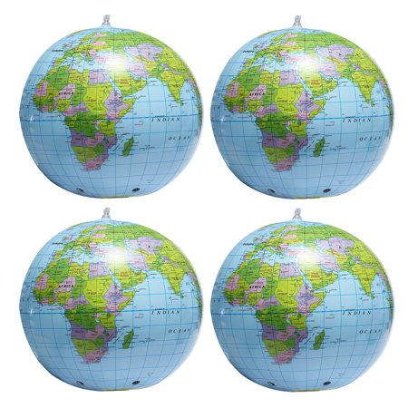 4x Inflatable World Earth Globe Map Beach Ball 4x Geography Education Playing Toy or Teaching 15 Inch
