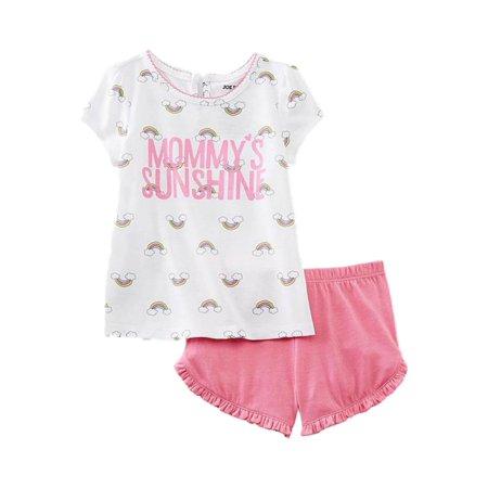 - Joe Boxer Infant Toddler Girls Mommys Sunshine Pajamas Top Shorts Sleep Set 4T