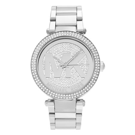 84bbd274aed8 Michael Kors - Women s MK5925  Parker  Stainless Steel Crystal Pave Logo  Dial Link Bracelet Watch - Walmart.com