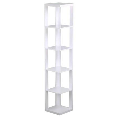 Yaheetech 5 Tier White Finish Wood Wall Corner Shelf Slim Bookshelf Bookcase Tall Display Rack