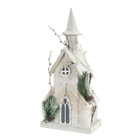 "18.75 "" Pre-Lit LED Wooden Church with Pine and Twigs Christmas Decoration - Clear Lights"