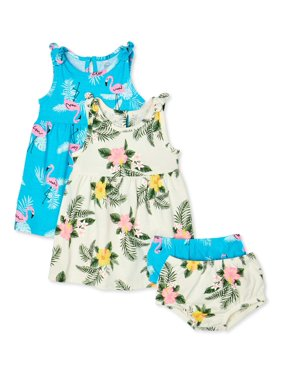 Wonder Nation Baby Girl Floral Dress & Diaper Cover, 2-pack