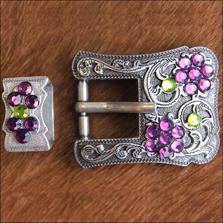 Antique Silver Buckle (1 PIECE PURPLE GREEN CRYSTALS ANTIQUE SILVER FINISH BUCKLE SET BELT)