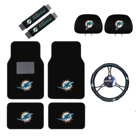 Miami Dolphins Floor Mat (Miami Dolphins Floor Mat, Headrest Wheel Cover and Shoulder Pads Gift)