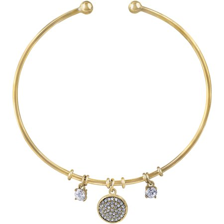 Clear Crystal Stone Sterling Silver/14kt Gold Flash-Plated Cuff Bracelet with Pave Disc Drop and Prong Setting -