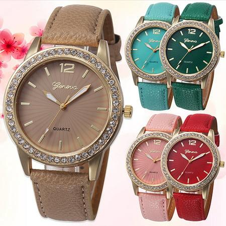 Heepo Fashion Women Rhinestone Faux Leather Analog Quartz Dress Wrist Watch (Analog Leather Wrist Watch)